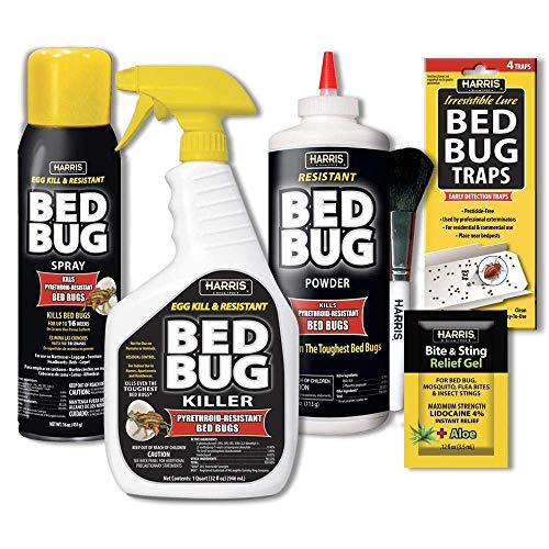 HARRIS Bed Bug Killer Value Bundle Kit - 32oz Bed Bug Killer, 16oz Aerosol Spray, 4oz Bed Bug Powder w/Brush, 4-Pack Bed Bug Detection Glue Traps and Bed Bug Bite Relief Gel