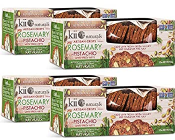 Kii Naturals Artisan Crisps - Rosemary Pistachio • 5.3oz  4 Pack  • {Professionally Packed/Packaged for Shipping} • [Chips Crackers Spread Flatbread Snack Cheese Dips Tea Wine Toast Bread]