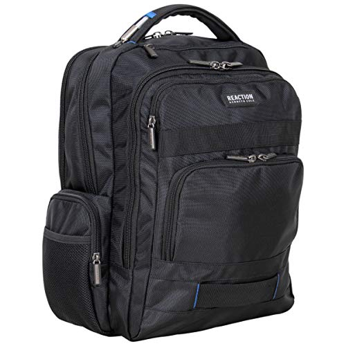 """Kenneth Cole Reaction Triple Compartment 17"""" Laptop & Tablet RFID Business, School, & Travel Backpack, Black With Blue, Medium"""