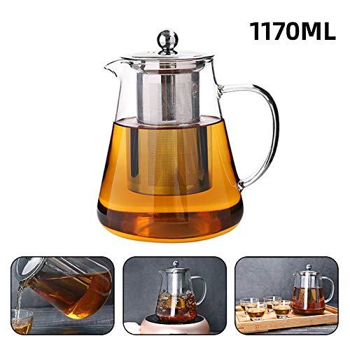 Teiera in vetro con infusore – teiera trasparente borosilicato con filtro in acciaio inox – filtro resistente al calore per tè e caffè – teiera per tè sciolto,Borosilicato vetro,Trasparente,1170 ml