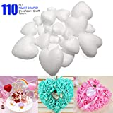 ACTENLY Craft Foam Hearts - 110-Piece Heart-Shaped Polystyrene Foam Ball for Arts and Craft Use, DIY Ornaments, Wedding Decorations, White, 3 Assorted Sizes