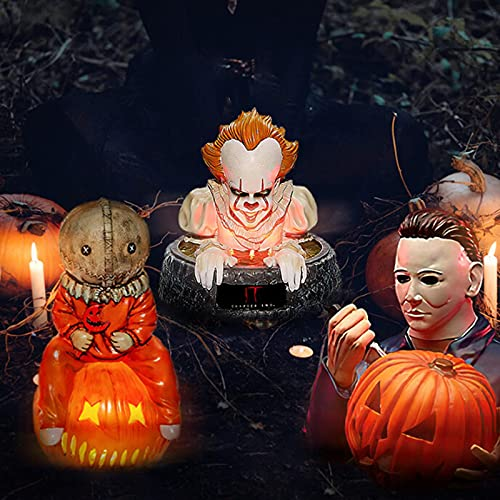 Bvlglp 1/3Pcs Halloween Michael Myers Resin Statue with Pumpkin Sam Trick 'r Treat LED Light Up Garden Gnomes Decoration Resin, Horror Movie Garden Gnomes Decorations Statues