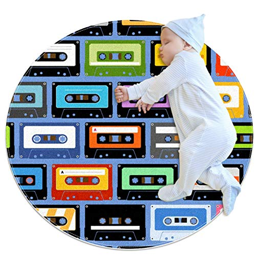 Alfombra redonda, cassettes grabables de música para interiores y entradas, felpudo de entrada, tapete para yoga, para sala de estar, dormitorio, 3.28 pies