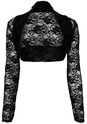 Crazy Girls Womens Cropped Lace Bolero Shrug Long Sleeve Open Cardigan Crop Top (S/M-UK8/10, Black)