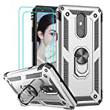 LG Stylo 5 Case, LG Stylo 5 Plus/LG Stylo 5V / LG Stylo 5X Case with Tempered Glass Screen Protector, LeYi Military-Grade Phone Case with Magnetic Ring Holder Mount Kickstand for LG Stylo 5, Silver