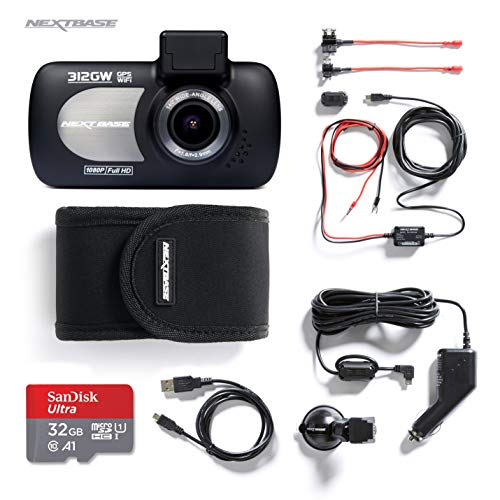 Nextbase 312GW Full 1080p/ 30fps 140° Viewing Angle, Front View HD In Car Dash Cam Camera WIFI + GPS, Bundle Kit with Mount, Hardwire Kit, 32GB SD Card and Protective Case Included