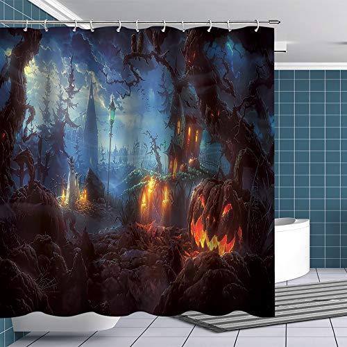 BTTY Halloween Duschvorhang Horror Kürbis Lampe Geheimnisvolle Wald Zimmer Dekoration Wasserdicht Badezimmer Vorhang mit Haken Stoff Duschvorhang-Sets 70x70 Zoll