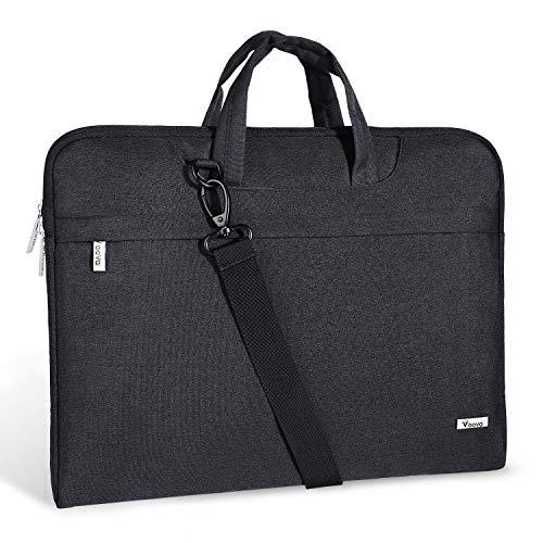 "Voova 14-15.6 Inch Laptop Sleeve Case Laptop Shoulder Bag, Slim Computer Carry Case with Strap Compatible with MacBook Pro 15.4"" / Macbook Pro 16 2019 /Surface Laptop 3 Book 2 15 Chromebook XPS, Black"