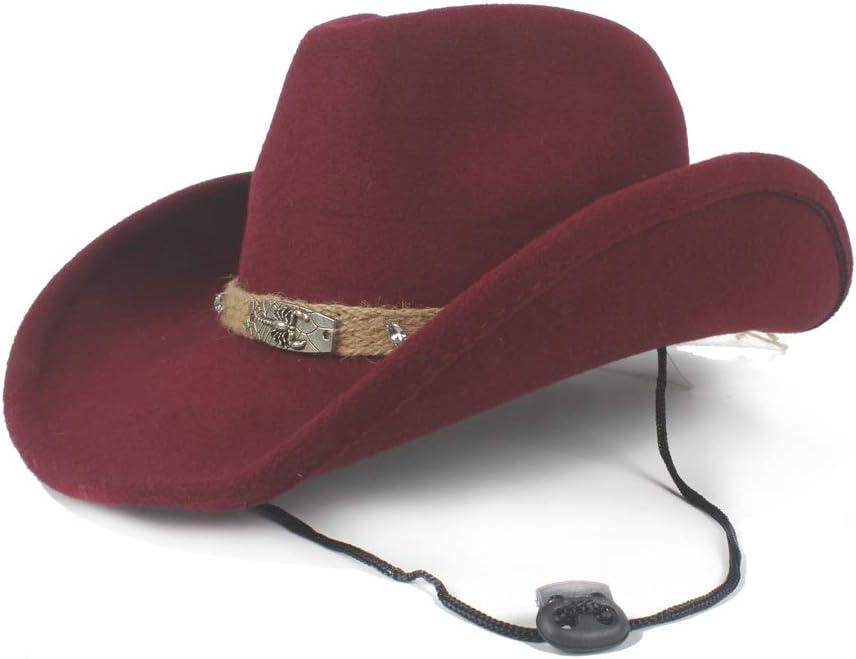L.W.SUSL Women Men Wool Western Cowboy Hat with Fashion Band Pop Fedora Hat Wide Brim Hat Size 56-58CM (Color : Wine red, Size : 56-58)