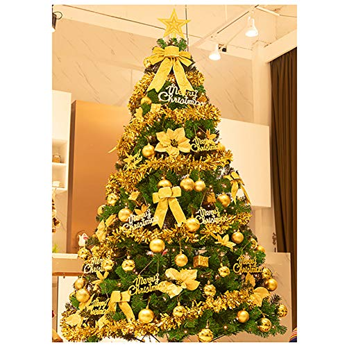 HM&DX Prelit Christmas Tree with Lights, Artificial Christmas Tree with Detachable Ornaments Metal Stand Premium Xmas Tree Holiday Decoration-Gold 7ft