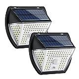 GreenSun Luz Solar Exterior, Iluminación Solar para Exteriores con Sensor de Movimiento, Lámpara de Seguridad Solar inalámbrica e Impermeable para el jardín, 2 Pack