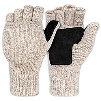Fingerless Winter Gloves Convertible Wool Mittens for Men & Women - Warm Thermal Knit Flip Top Snow Glove for Cold Weather