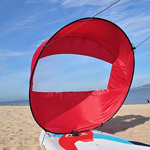 SHEHUIREN Ligera Kayak Plegable Barco De Remos De Canoa Viento Vela Sup Paddle Board con La Ventana Clara Deriva Navegación Accesorios 108X108cm,Rojo