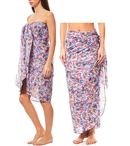 Maui Wowie gemusterter Pareo Strandbekleidung Wickelkleid Strand-Kleid Rock Bademode Bunt, Größe:OneSize