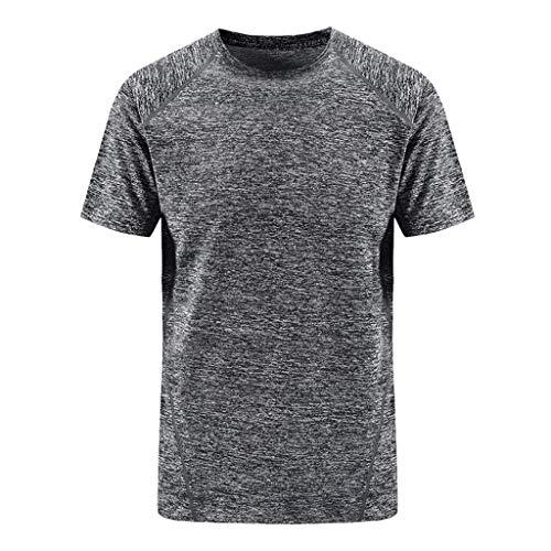 Celucke Herren Sport Funktionsshirt Laufshirts Übergröße Trainingsshirt Performance T-Shirt Kompressionsshirt, Einfarbig Kurzarm Rundhals Stretch Compression Atmungsaktiv Schnelltrocknend
