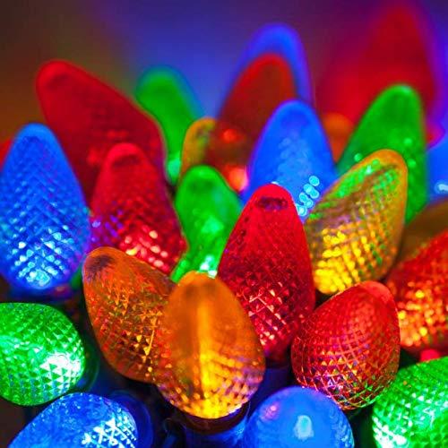String Lights LED Christmas Light Set C7 Indoor Outdoor Size 5 m Voltage 120v Get 25 Multi Color #CMS01YN