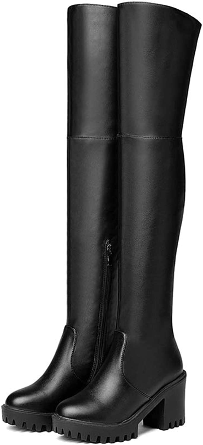Hoxekle Black Women Boots Flock Pu Autumn Winter Ladies Boots Square Heel Round Toe Platform Over The Knee Boots