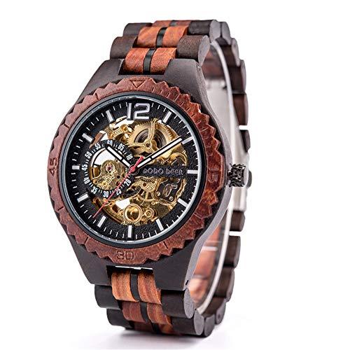 Reloj de pulsera para hombre, clásico, caoba, automático, mecánico de madera, esfera digital, reloj de madera marrón para hombre y mujer, reloj automático de madera natural con base de cristal