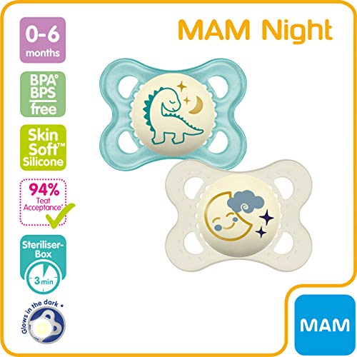 MAM Night Soothers 0+ Months (Pack of 2), Glow in the Dark Baby Soothers with Self Sterilising Travel Case, Newborn Essentials, Blue/White, (Designs May Vary)