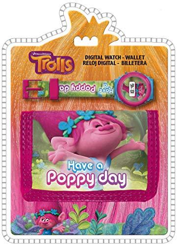 Trolls Have a Poppy Day Kinder-Digitaluhr und Geldbörse, Set mit Münzbeutel, 25 cm, Mehrfarbig
