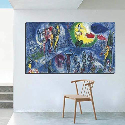 Chihie Marc Chagall Grand Cirque Leinwanddruck Wohnzimmer Home Decoration Kunstwerk Moderne Wandkunst Ölgemälde Poster Picture 60cm x90cm No Frame