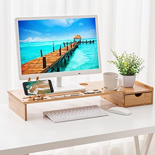Soporte de elevador de monitor de madera natural con cajón, estante de escritorio de la computadora de la computadora de bambú con almacenamiento de teclado, escritorio Organización de accesorios de a