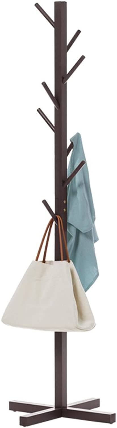 Solid Wood Coat Rack for Clothes Stand Hat Handbag H165cmW50cm (color   Coffee color)