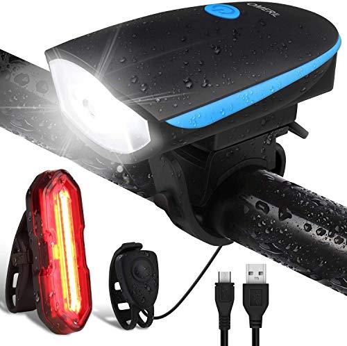 Luz Bicicleta Recargable USB, Linterna Bicicleta Impermeable con Luz Bicicleta Delantera, Campana...
