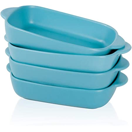 BonNoces 7.5'' x 5'' Ceramic Individual Baking Dish, Small Rectangular Casserole Pasta Bakeware Dishes with Handles, Oven and Microwave Safe, Set of 4 (Matte Blue)