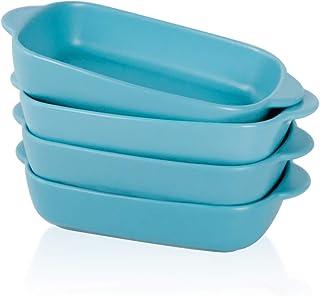 BonNoces Matte Porcelain Baking Dish, Individual Casserole Bakeware with Double Handles, Small Rectangular Pasta Lasagna P...
