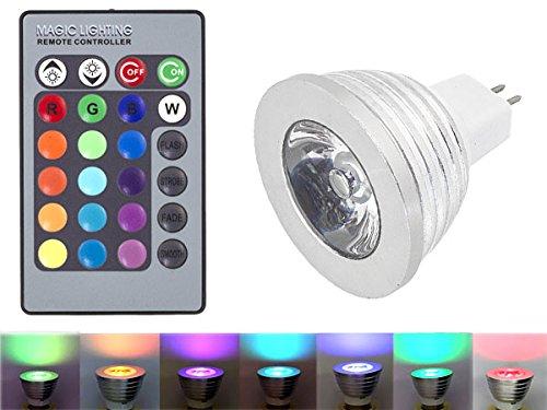 HUKITECH RGB LED MR16 lamp met kleurverandering (16 kleuren) + afstandsbediening