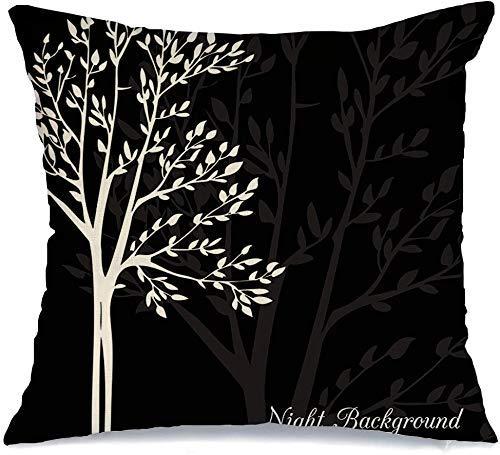Decoración Throw Pillow Cover Funda de cojín Roble Primavera Doodle Árboles Mano Bush Noche Tinta Sencillez Gráfico Follaje Dibujado Naturaleza Abstracto Arce Funda de Cojine 45 X 45CM