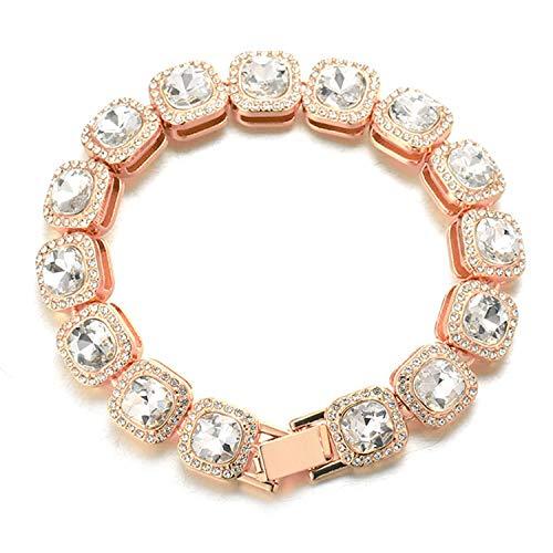 Halukakah Diamante Pulsera de Oro Blanco para Hombres,Chapado en Oro Rosa Cuadrado Diamante Blanco Pulsera 21.5cm,Diamantes de Laboratorio,con Caja