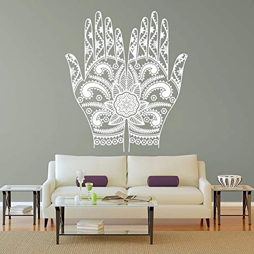 ASFGA Abstrakte Yoga Hand Blume Mandala Wand Raumdekoration Kunst Vinyl Aufkleber Wandtattoo Palm Muster Wandaufkleber Eye Club Bar 80x128cm