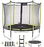 Kangui - Trampoline de Jardin 305 cm + Filet de sécurité + échelle + bâche de Protection + kit d'ancrage JUMPI Pop 300