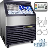 VEVOR 110V Commercial Ice Machine 265LBS/24H with 99LBS Bin, Clear Cube LED Panel, Stainle...