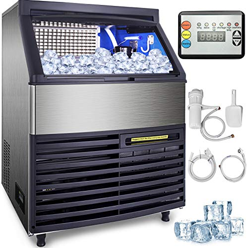 VEVOR 110V Commercial Ice Machine 320LBS/24H with 99LBS Bin, Clear Cube LED Panel, Stainless Steel, Air Cooling, ETL Approved, Professional Refrigeration Equipment, Include Scoop and Connection Hose