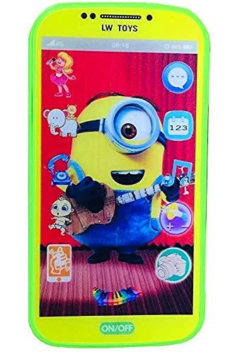 My Talking First Learning Kids Mobile Smartphone with Touch Screen and Multiple Sound Effects, Along with Neck Holder for Boys & Girls - Multi Color (Minion/Despicable)