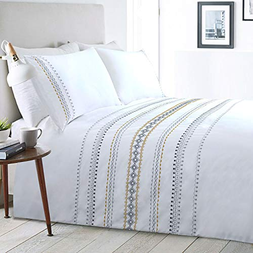 Boho Duvet Cover White Queen Aztec Geometric Bedding Set Cotton 3 Pieces Bohemian GEO 90x90 Textured Striped Moroccan Embroidered Mustard Patterned Gypsy Comforter Quilt Cover Zip Minimalist