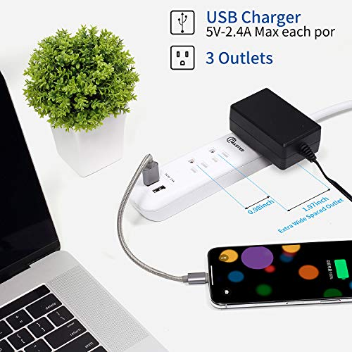 USB Power Strip Surge Protector Long Extension Cord 6 feet, 3 Outlets, 2 USB Ports (2.4A/12W), Overload Protection, Mountable Power Strip for Home Office, 1250W/10A, SGS Listed, White 3