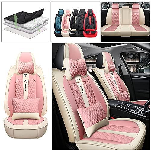 Maidao Funda Asiento Coche para Audi A5 Sportback Coupe 2010-2021 5 Plazas Universal Funda Asientos de Cuero & Reposacabezas Compatible con Airbag Rosa Beige