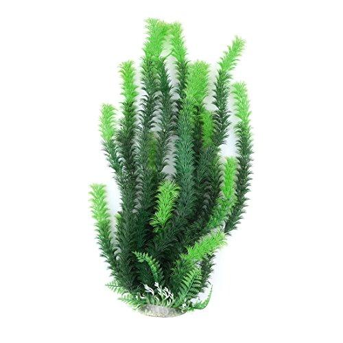 sourcing map Bol Poissons Aquarium Plantes artificielles en Plastique Décoration Herbe 46 cm Vert