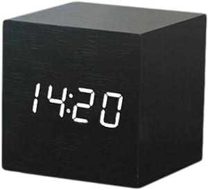 Creative grain de bois réveil avec la température Fonction Affichage (Noir)
