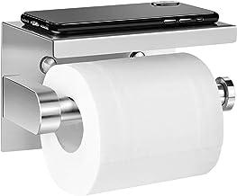 Aikzik Portarrollos de papel higiénico sin taladros, autoadhesivo, acero inoxidable, con superficie de almacenamiento para teléfono móvil, para la cocina y el baño