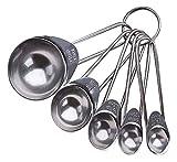 RTUTUR 5 piezas de medición de cucharas Conjunto de acero inoxidable Herramientas de medición de la manija for cocina el uso