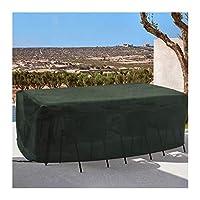 YJFENG ガーデン屋外カバーテーブル、 パティオ家具カバー、 ガーデンファニチャー用ターポリン、 600x300D オックスフォードクロス 防水 防塵、防塵 長方形の座席の場合、 テーブル (Color : Green, Size : 300x250x90cm)
