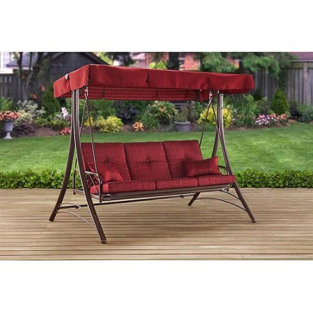 Mainstays Callimont Park 3-Seat Daybed Swing, Red / Three-person swing with...