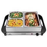 Chefman Electric Buffet Server + Warming Tray w/Adjustable Temperature & 3 Chafing Dishes, Hot Plate Perfect for Holidays, Catering, Parties, Events & Home Dinners, 14' x 14' Surface, Stainless Steel