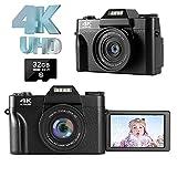 Cámara Digital Camara de Fotos 4K 48.0MP Ultra HD Camara Fotos Zoom Digital 16X con 3.0 Pulgadas Pantalla giratoria de 180 Grados Linterna retráctil Camara Compacta para Youtube