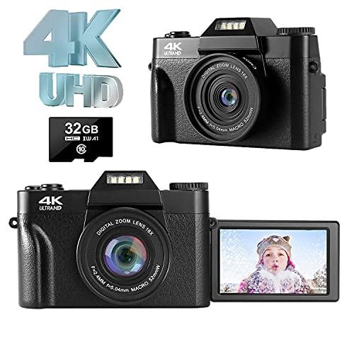 Fotocamera Digitale Macchina Fotografica 4K 48.0MP Fotocamera Ultra HD Vlogging Zoom Digitale 16X con 3,0 pollici Rotazione a 180 Gradi Schermo Girevole Fotocamera Compatta Digitale per Youtube